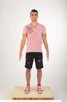 Colin black shorts clothing pink t shirt red shoes standing whole body 0001.jpg