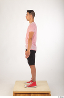 Colin black shorts clothing pink t shirt red shoes standing whole body 0003.jpg