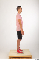 Colin black shorts clothing pink t shirt red shoes standing whole body 0007.jpg