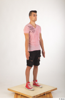 Colin black shorts clothing pink t shirt red shoes standing whole body 0008.jpg