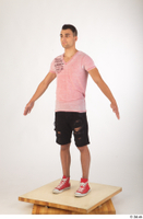 Colin black shorts clothing pink t shirt red shoes standing whole body 0010.jpg