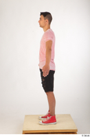 Colin black shorts clothing pink t shirt red shoes standing whole body 0011.jpg