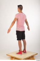 Colin black shorts clothing pink t shirt red shoes standing whole body 0012.jpg