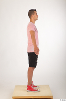 Colin black shorts clothing pink t shirt red shoes standing whole body 0015.jpg