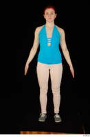 Vanessa Shelby blue tank top grey sneakers pink jeans standing whole body 0001.jpg